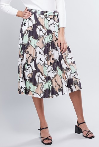 Printed A-line Midi Skirt with Pleats