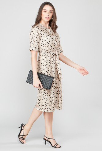 Polka Dot Button Through Midi Dress with Short Sleeves and Tie Up