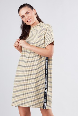 High Neck Checked Shift Dress with Short Sleeves