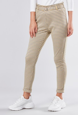 Chequered Cropped Pants with Paper Bag Waist and D-Ring Belt