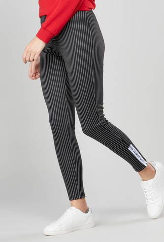 Striped Ankle Length Leggings with Elasticated Waistband