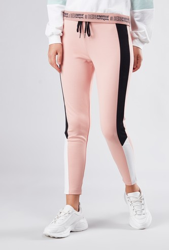 Colourblocked Jeggings with Drawstring Closure