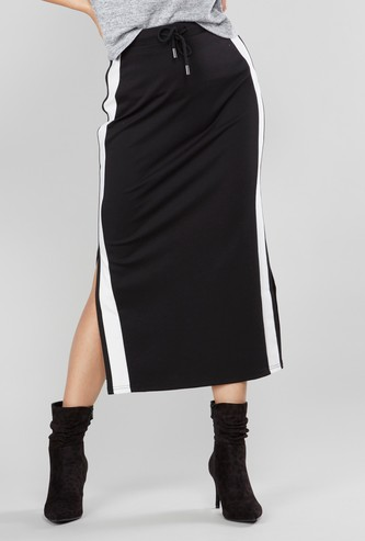 Stripe Detail Midi Skirt with Side Slits