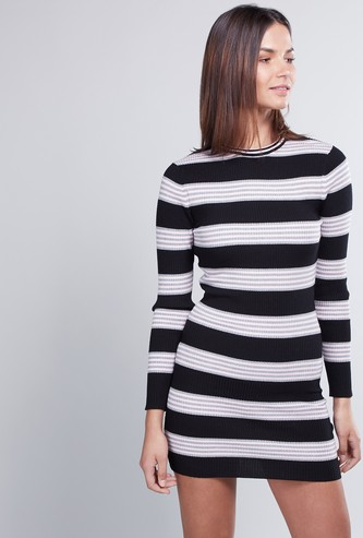 Striped Mini Bodycon Dress with Crew Neck and Long Sleeves