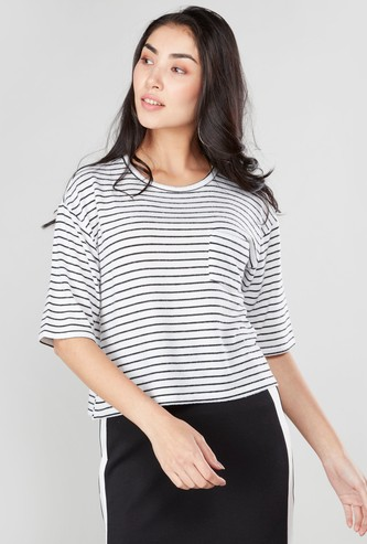 Striped Boxy Crop Top with Round Neck and Short Sleeves