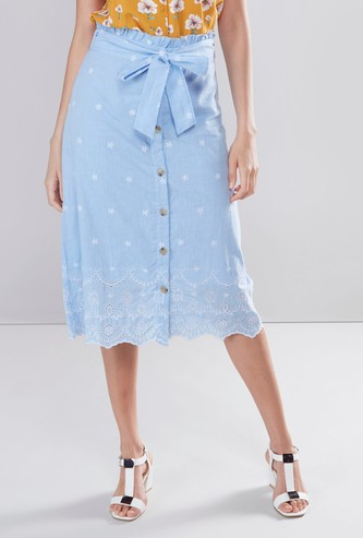 Embroidered Mid-Rise Skirt with Tie-Ups and Button Closure