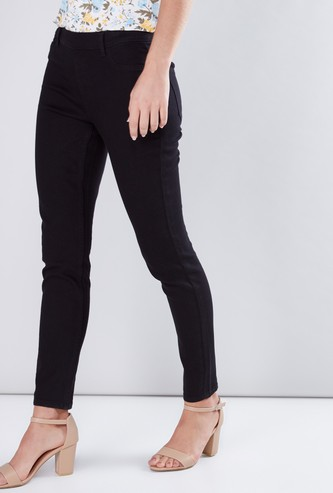 Full Length Mid-Rise Jeggings with Pocket Detail and Belt Loops