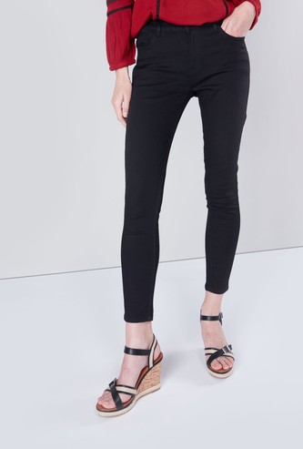 Skinny Fit Ankle Length Pants with Button Closure