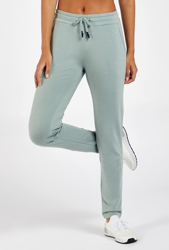 Solid Full Length Track Pants with Drawstring Closure