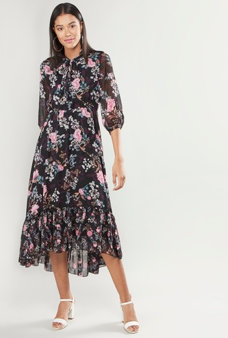 Floral Printed Midi Dress with Pussy Bow and 3/4 Sleeves