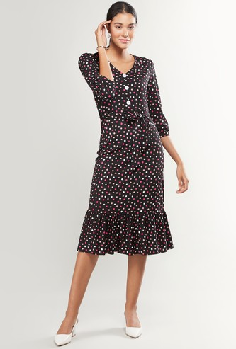 Polka Dot Print V-neck Midi Dress