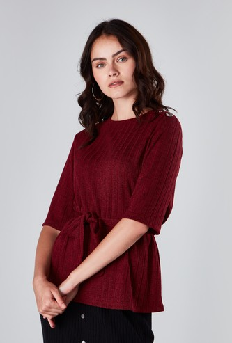 Textured Top with Tie Ups and Short Sleeves