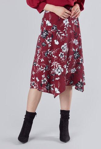Printed Midi Skirt with Elasticated Waistband and Asymmetric Hem