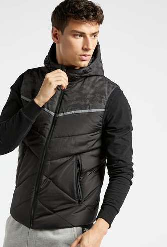 Quilted Sleeveless Jacket with Pocket Detail and Hood