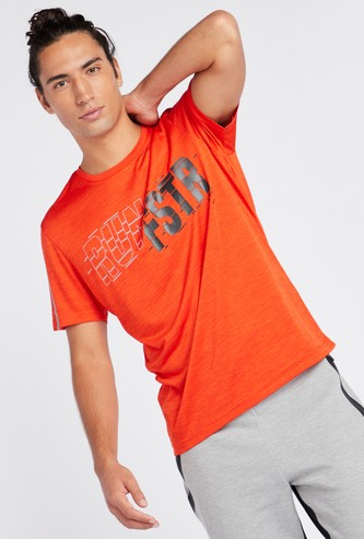 Performance Print T-shirt with Round Neck and Short Sleeves