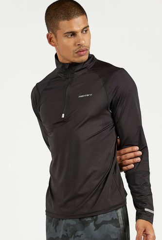 Solid T-shirt with High Neck and Long Sleeves