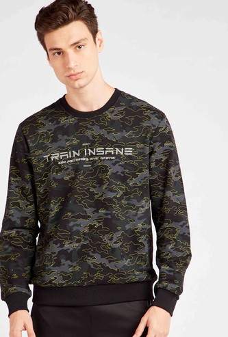 Camouflage Print Round Neck Sweatshirt with Long Sleeves
