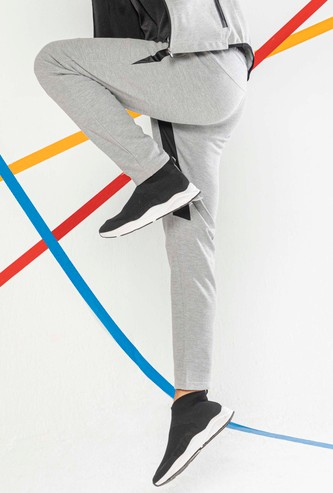 Solid Full Length Track Pants with Pockets and Drawstring Closure