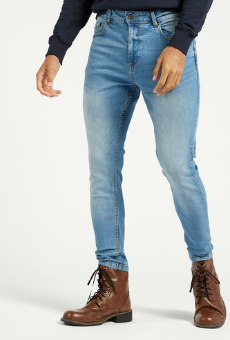 Skinny Full Length Jeans with 5-Pockets and Button Closure