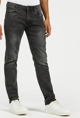 Slim Fit Mid-Rise Jeans with Button Closure