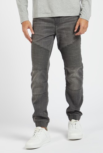 Textured Full Length Mid Rise Joggers with Button Closure