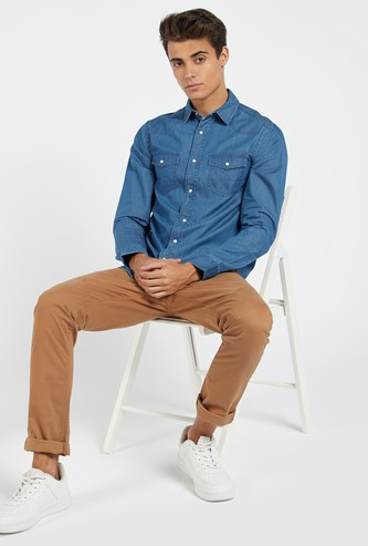 Solid Denim Shirt with Long Sleeves and Flap Pockets
