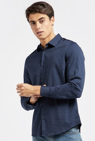 Slim Fit Polka Dots Print Shirt with Long Sleeves and Button Closure