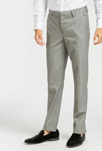 Solid Regular Fit Trousers with Button and Zip Closure