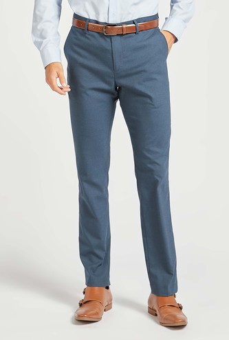 Solid Slim Fit Full-Length Formal Pants