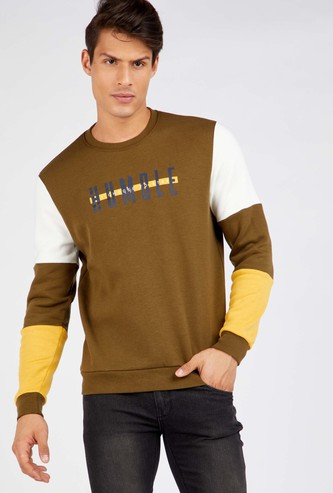 Printed Regular Fit Round Neck Sweatshirt with Long Sleeves