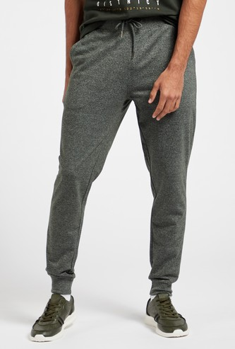 Slim Fit Solid Grindle Jog Pants with Pockets and Drawstring