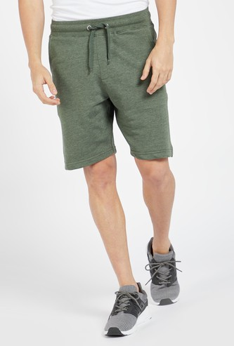 Solid Mid Rise Shorts with Drawstring Closure and Pockets