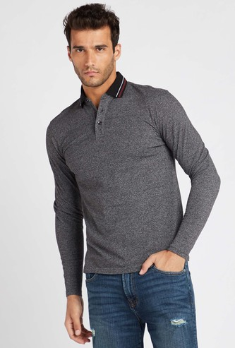 Solid Polo T-shirt with Long Sleeves