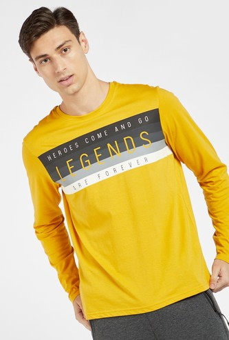 Typographic Print T-shirt with Crew Neck and Long Sleeves
