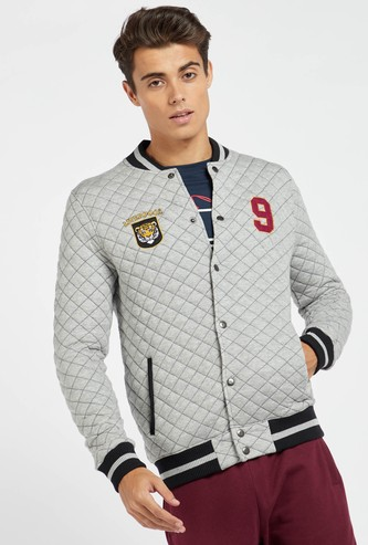 Quilted Bomber Jacket with Long Sleeves and Pocket Detail