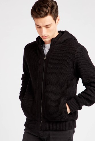Textured Sweater with Hood and Pocket Detail