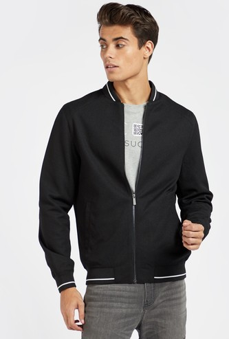 Solid Bomber Jacket with Long Sleeves and Pocket Detail