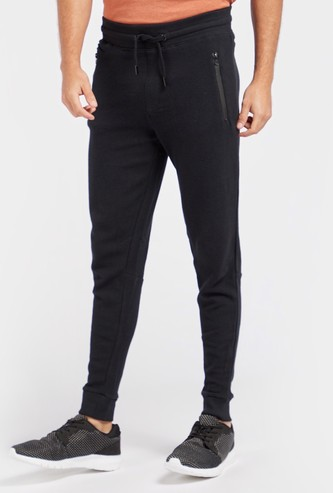 Textured Full Length Mid-Rise Joggers with Drawstring Closure