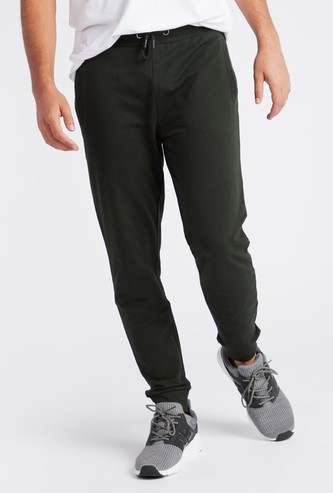 Slim Fit Solid Anti-Pilling Jog Pants with Drawstring and Pockets