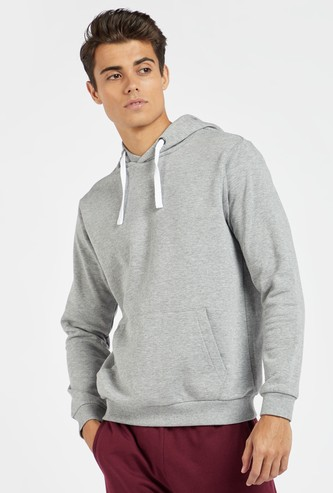 Solid Anti-Pilling Hoodie with Long Sleeves and Pocket Detail