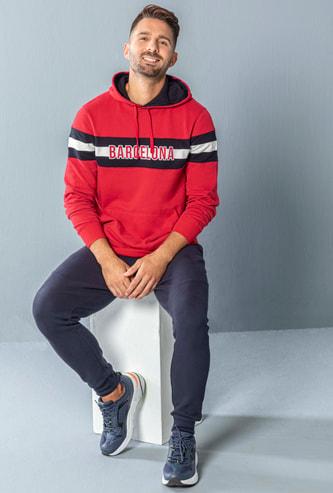 Embroidered Long Sleeves Sweatshirt with Hood and Kangaroo Pockets