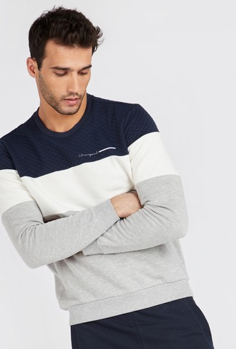 Colour Block Quilted Panel Round Neck Sweatshirt with Long Sleeves
