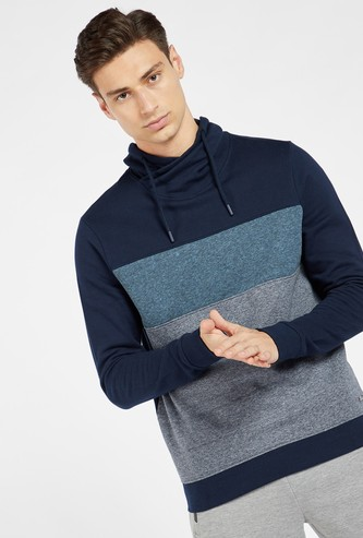 Striped Sweatshirt with Shawl Neck and Long Sleeves