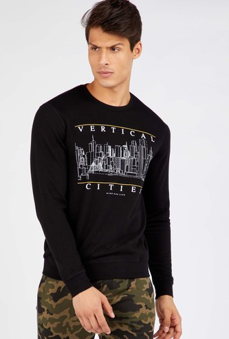 Typographic Print Round Neck Sweatshirt with Long Sleeves