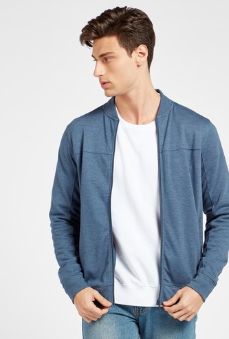 Solid Bomber Jacket with Pockets and Long Sleeves