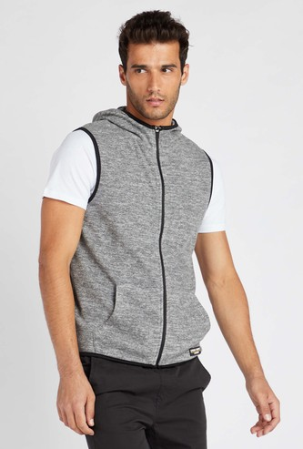 Solid Regular Fit Sleeveless Jacket with Hooded Neck and Zip Closure