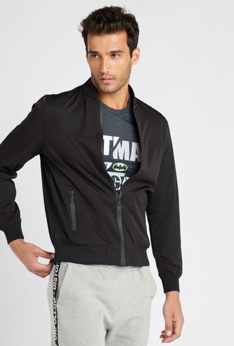 Solid Bomber Jacket with Long Sleeves and Zip Closure