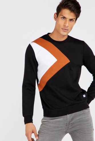 Colour Blocked Round Neck Sweatshirt with Long Sleeves