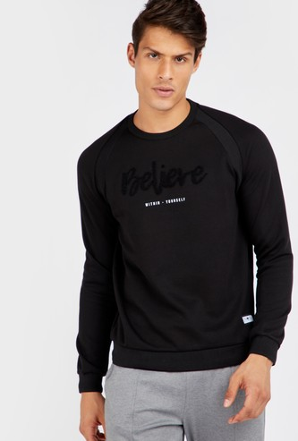 Typographic Print Raglan Seam Sweatshirt with Long Sleeves