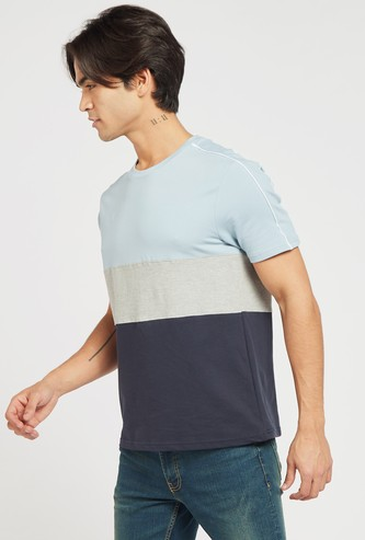 Colourblock T-shirt with Round Neck and Short Sleeves